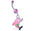 Belly ring with dangling pink cartoon dolphin