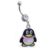 Navel ring with dangling cartoon penguin