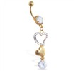 Gold Tone belly ring with dangling hearts and gem