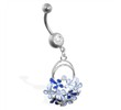Navel ring with multi jeweled flower dangle