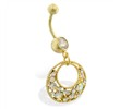 Gold Tone belly ring with dangling jeweled circle