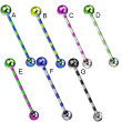 Titanium anodized striped industrial straight barbell, 14 ga