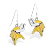 Mspiercing Sterling Silver Earrings With Official Licensed Pewter NFL Charm, Minnesota Vikings