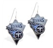 Mspiercing Sterling Silver Earrings With Official Licensed Pewter NFL Charm, Tennessee Titans