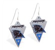 Mspiercing Sterling Silver Earrings With Official Licensed Pewter NFL Charm, Carolina Panthers