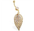 Gold Tone belly ring with large dangling leaf and gems