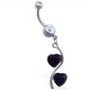 Navel ring with jeweled double heart dangle