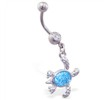 Navel ring with dangling aqua glitter sea turtle