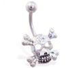 Jeweled skull belly ring with crossbones