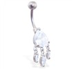 Jeweled teardrop belly ring with triple dangles