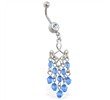 Navel ring with blue stone chandelier dangle
