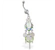 Dangling chandelier belly ring with green stones and chains