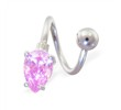 Twister Barbell With Pink Teardrop End, 14 Ga
