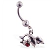 Belly ring with dangling jumping dolphins