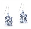 Mspiercing Sterling Silver Earrings With Official Licensed Pewter MLB Charms, St. Louis Cardinals