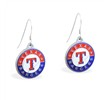 Mspiercing Sterling Silver Earrings With Official Licensed Pewter MLB Charms, Texas Rangers