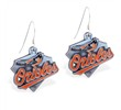 Mspiercing Sterling Silver Earrings With Official Licensed Pewter MLB Charms, Baltimore Orioles