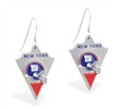 Mspiercing Sterling Silver Earrings With Official Licensed Pewter NFL Charm, New York Giants