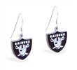 Mspiercing Sterling Silver Earrings With Official Licensed Pewter NFL Charm, Oakland Raiders