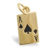 14K Yellow Gold Ace Of Spades Pendant