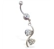 Navel ring with double jeweled heart dangle