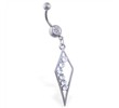 Belly ring with jeweled triangle dangle