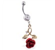 Navel Ring with Dangling Gold Colored Stem with Rose And Tiny CZ