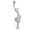 Jeweled heart belly ring with dangling heart and gem