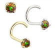 14K Gold Nose Screw with 2mm Round Rainbow Opal