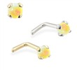 14K Gold L-shaped Nose Pin with 2mm Round Yellow Opal