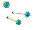 14K Gold Nose Bone with 2mm Round Blue Green Opal
