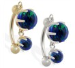 14K Gold reversed belly ring with double Blue Green opal dangle
