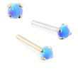 14K Gold Customizable Nose Stud with 2mm Round Blue Opal