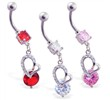 Navel ring with dangling jeweled heart and CZ
