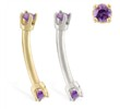 14K Gold internally threaded curved barbell with amethyst gems
