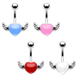 Colored heart belly ring with wings