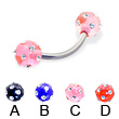 Titanium curved barbell with multi-gem acrylic colored balls, 14 ga