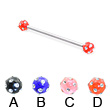 Industrial barbell with multi-gem acrylic colored balls, 12 ga