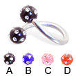 Twister barbell with multi-gem acrylic colored balls, 12 ga