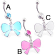 Belly ring with dangling jeweled colored bow
