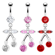 Navel ring with jeweled cherry dangle