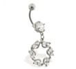 Navel ring with dangling jeweled circle star