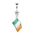 Belly ring with dangling Irish flag