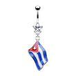 Belly ring with dangling Cuban flag