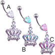 Jeweled heart navel ring with dangling jeweled crown with