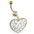 Gold Tone Belly Ring with Dangling Heart with Hearts And Gems