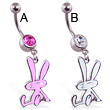 Navel ring with dangling colored bunny