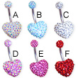 Crystal paved double heart belly ring