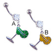 Jeweled belly ring with dangling martini