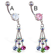 Jeweled navel ring with multi-color CZ dangle